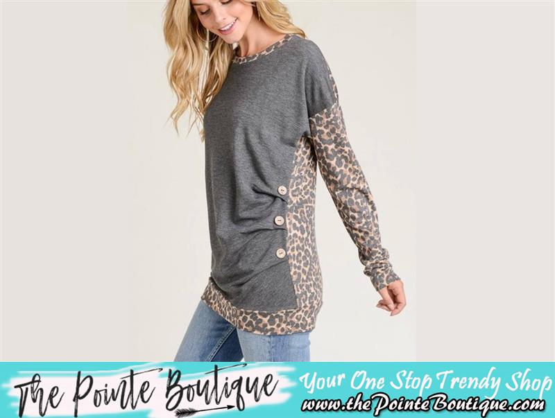 Review image from Charcoal Contrast Leopard Top With A Round Neckline, Long Sleeves, Banded Hem And Peat/Button Detail