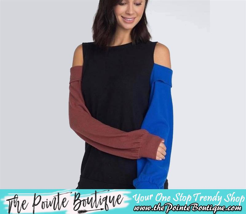 Review image from Black Color Block Open Shoulder Sweater Top