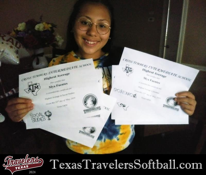 Review image from The Texas Travelers 2024 Team Mya F. Alonso Captain/Catcher/Utility Player Received 6 Awards Including Highest Average For Science & Social Studies In Her Grade Level. Way To Go Kid!